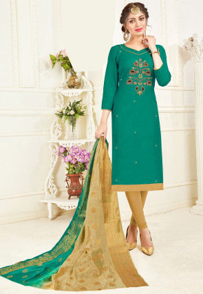 Embroidered Cotton Straight Suit in Teal Green