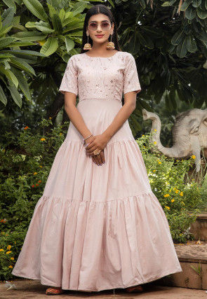 Embroidered Cotton Tiered Gown in Baby Pink