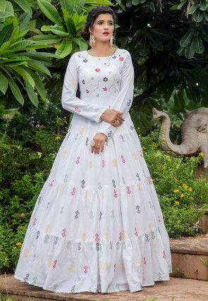 Embroidered Cotton Tiered Gown in White