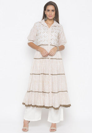 Embroidered Cotton Tiered Kurta Set in Off White