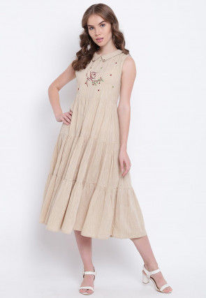 Embroidered Cotton Tiered Midi Dress in Beige