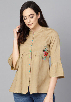 Embroidered Cotton Top in Beige