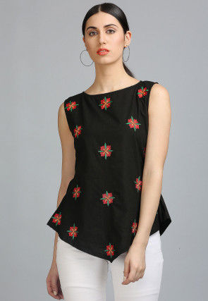 Embroidered Cotton Top in Black