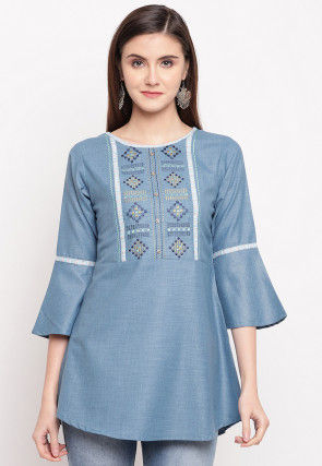 Embroidered Cotton Top in Blue