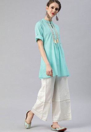 Embroidered Cotton Top in Light Blue