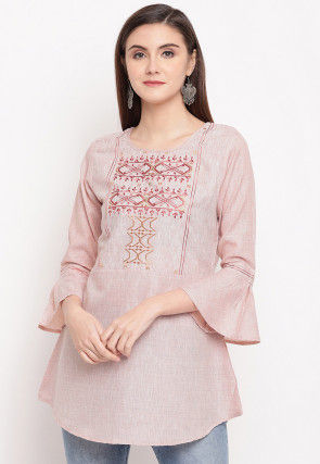 Embroidered Cotton Top in Light Peach