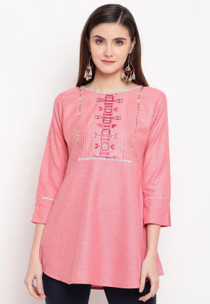Embroidered Cotton Top in Peach