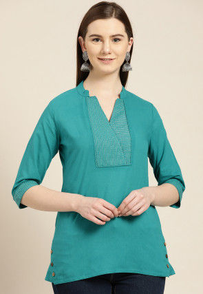 Embroidered Cotton Top in Teal Blue