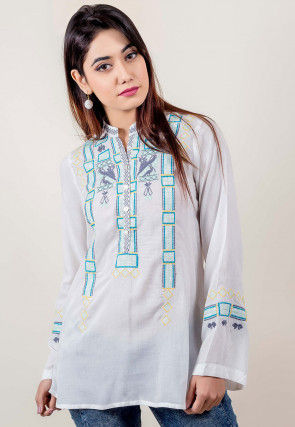 Embroidered Cotton Top in White