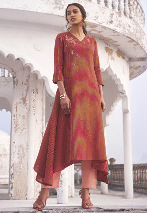 Embroidered Cotton Trail Cut Kurta Set in Red