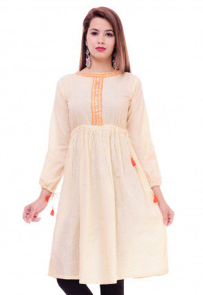 Embroidered Cotton Tunic in Light Beige