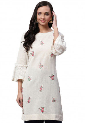 Embroidered Cotton Tunic in Off White