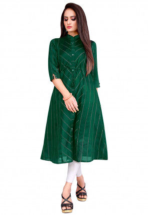Embroidered Cotton Viscose A Line Kurta in Green