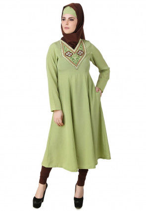 Embroidered Crepe A Line Kurta in Light Green