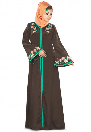 Embroidered Crepe Abaya in Dark Brown