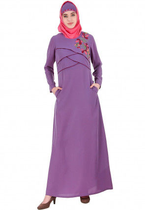 Embroidered Crepe Abaya in Light Purple