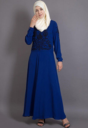 Embroidered Crepe Abaya in Royal Blue