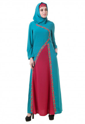 Embroidered Crepe Abaya in Teal Blue and Fuchsia