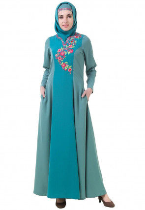 Embroidered Crepe Abaya in Teal Blue