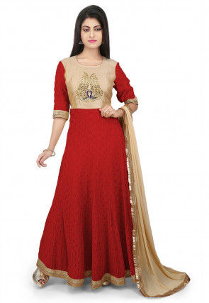 Embroidered Crepe Abaya Style Suit in Light Beige and Maroon