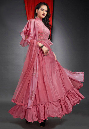 Embroidered Crepe Abaya Style Suit in Pink