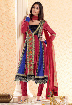 Embroidered Crepe Anarkali Suit in Multicolor