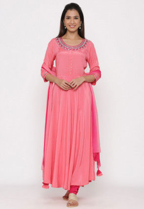 Embroidered Crepe Anarkali Suit in Pink