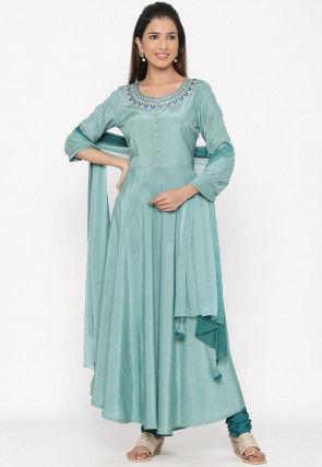 Embroidered Crepe Anarkali Suit in Sky Blue