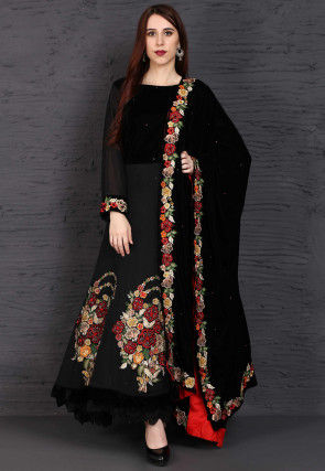 Embroidered Crepe and Velvet Abaya Style Suit in Black