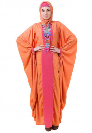 Embroidered Crepe Batwing Kaftan in Orange and Pink