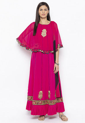 Embroidered Crepe Cape Style Abaya Suit in Fuchsia