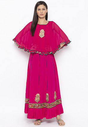Embroidered Crepe Cape Style Kurta in Fuchsia