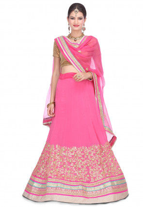 Embroidered Crepe Chiffon Lehenga in Pink