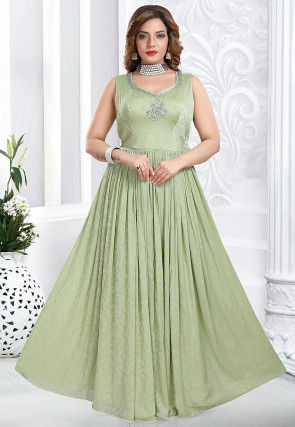 Embroidered Crepe Flared Gown in Pastel Green
