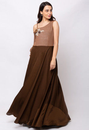 Embroidered Crepe Gown in Brown
