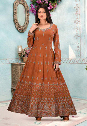 Embroidered Crepe Gown in Light Brown