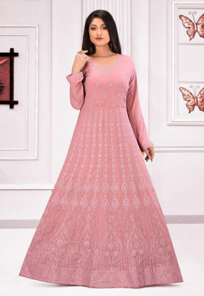 Embroidered Crepe Gown in Light Old Rose