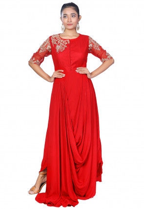 Embroidered Crepe Gown in Red