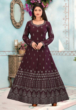 Embroidered Crepe Gown in Wine