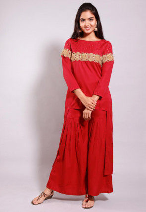 Embroidered Crepe High Low Tunic in Red
