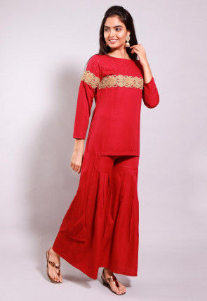Embroidered Crepe High Low Tunic Set in Red