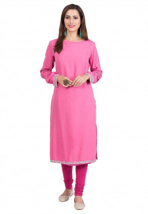 Embroidered Crepe Kurta in Pink