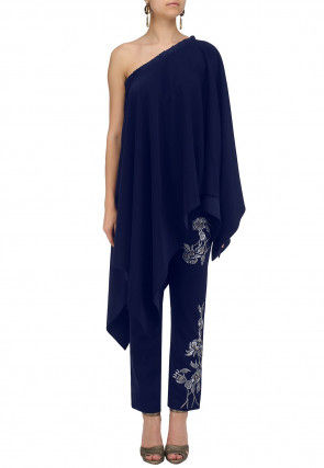 Embroidered Crepe Kurta Set in Indigo Blue