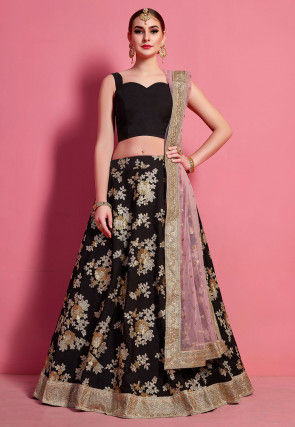 Embroidered Crepe Lehenga in Black