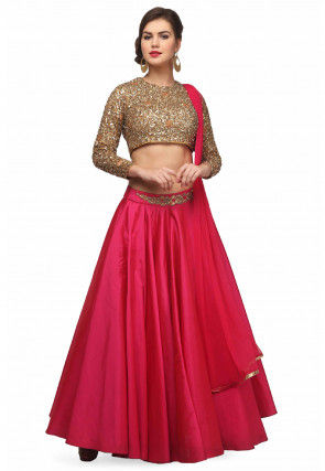 Embroidered Crepe Lehenga in Fuchsia