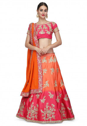 Embroidered Crepe Lehenga in Shaded Orange and Pink