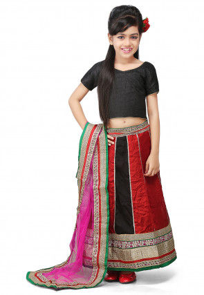 Embroidered Crepe Lehenga Sets in Red and Black