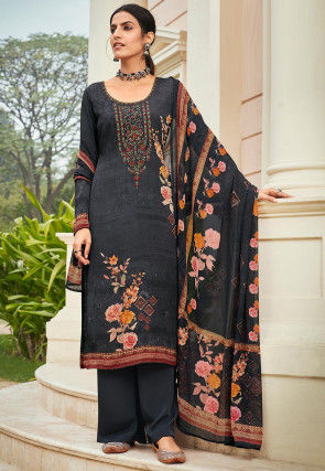 Embroidered Crepe Pakistani Suit in Black