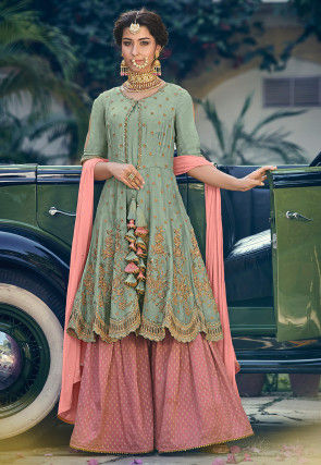 Embroidered Crepe Pakistani Suit in Dusty Green