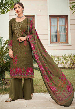 Embroidered Crepe Pakistani Suit in Olive Green